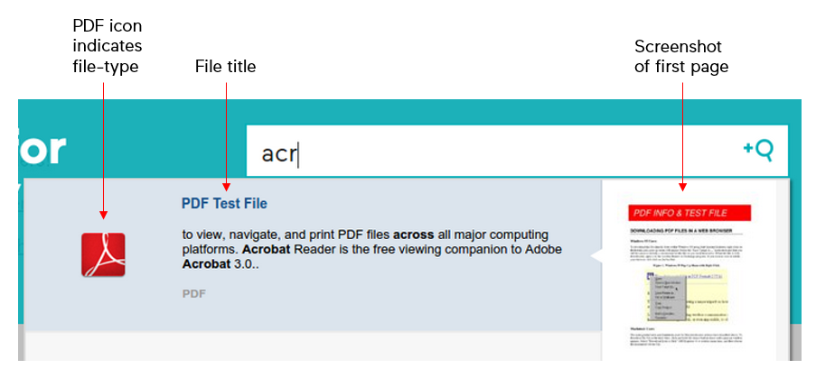PDF document search in action.