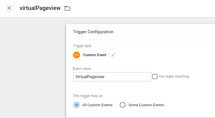 Picture of creating custom event trigger on VirtualPageView.