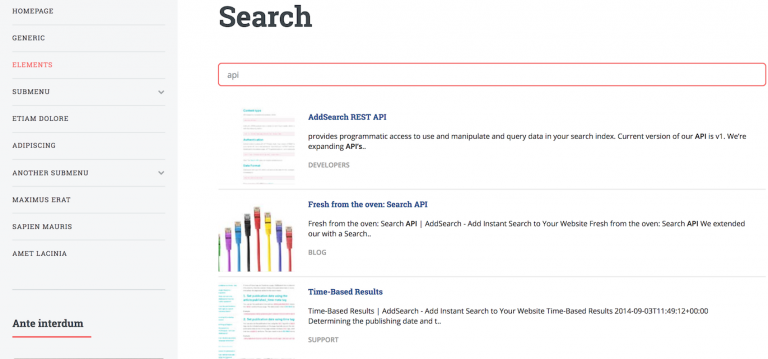 Picture of AddSearch Separate Results Page view.