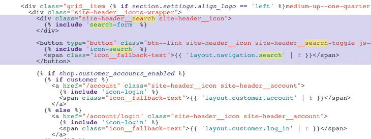 Picture of search related code in header.liquid file.