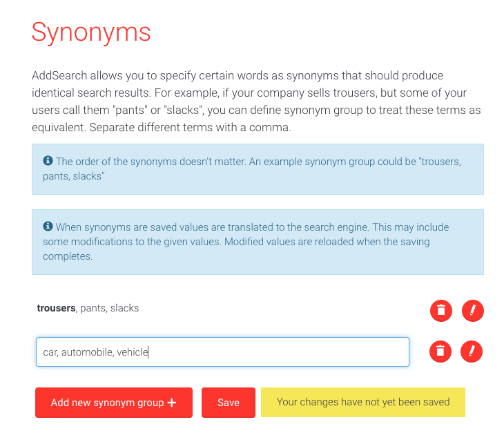 Picture of Synonyms user interface in AddSearch Dashboard.