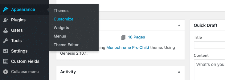 Picture of WordPress dashboard Appearance menu.