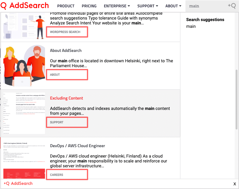 Picture of search results with category information highlighted.