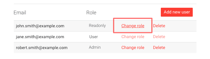 Picture of changing user role in AddSearch dashboard.