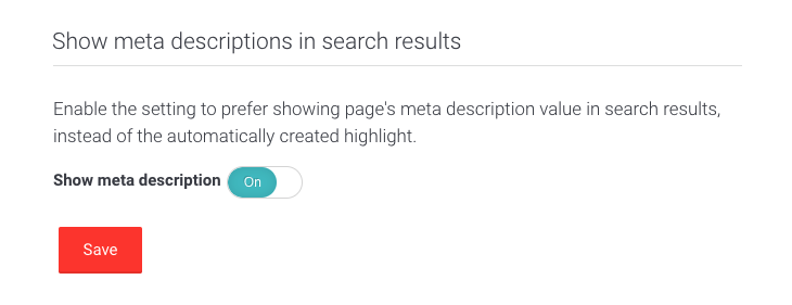 Picture of show meta descriptions user interface in AddSearch dashboard.