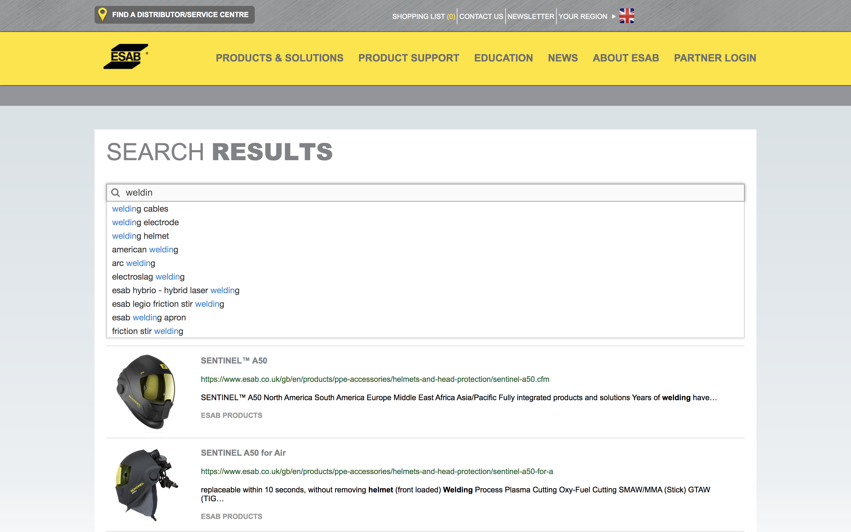 esab website search