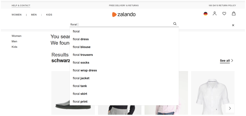Zalando offers a variety of autosuggestions for a search term