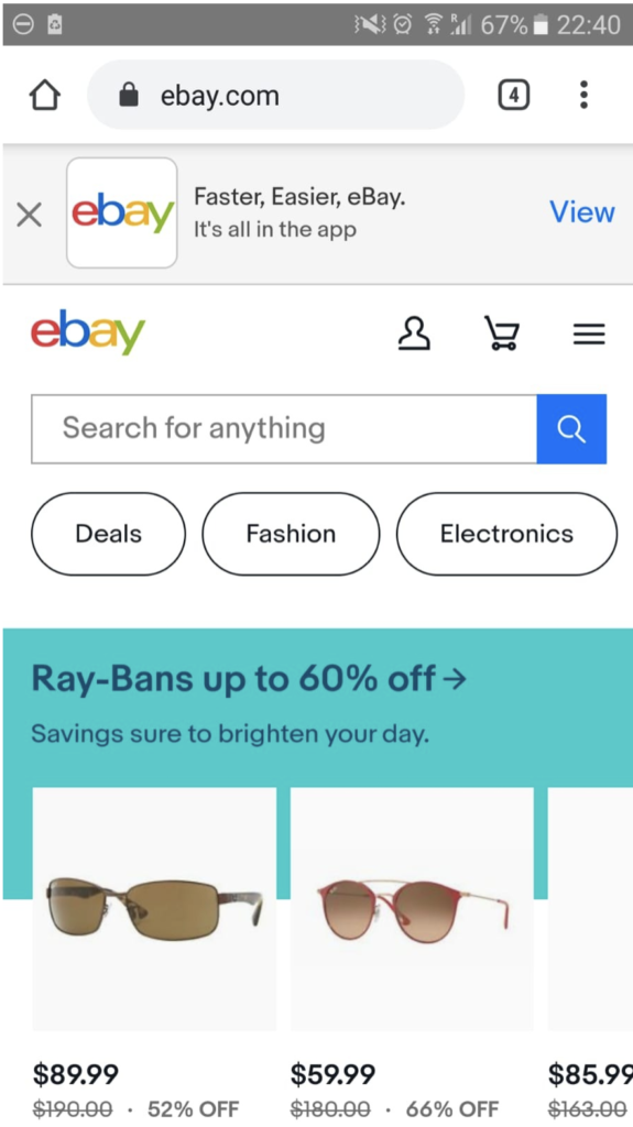 Ebay has its site search optimized for Mobile: putting the site search in the center, offering categories and deleting any unnecessary UI for mobile.
