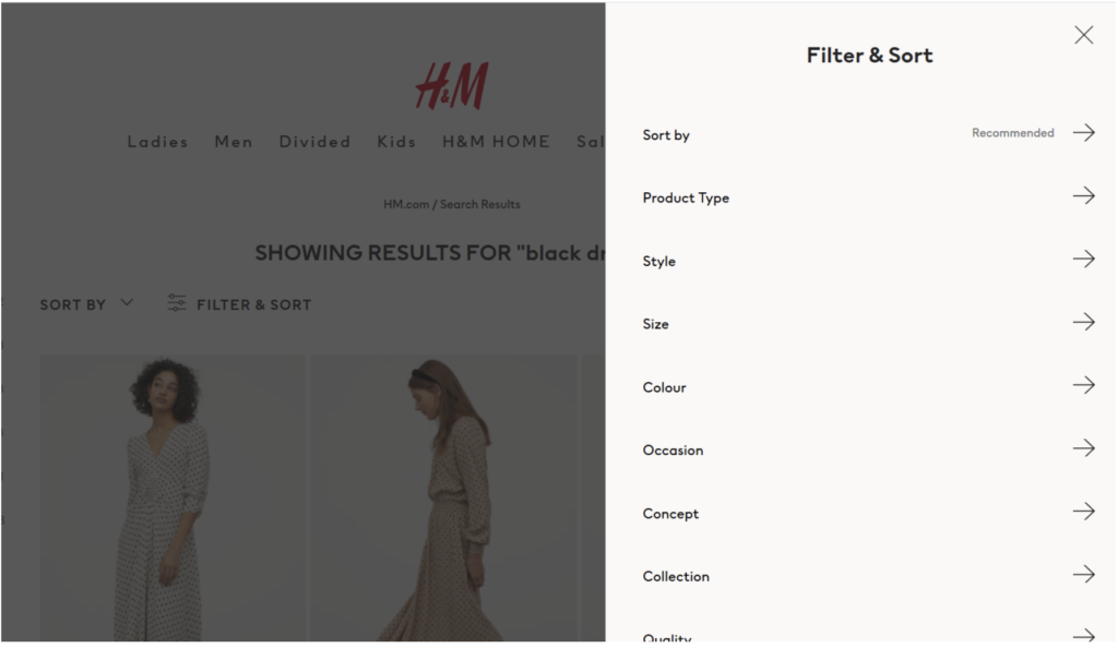 "H&M offers a variety of filters for a search term (""black dress"")"