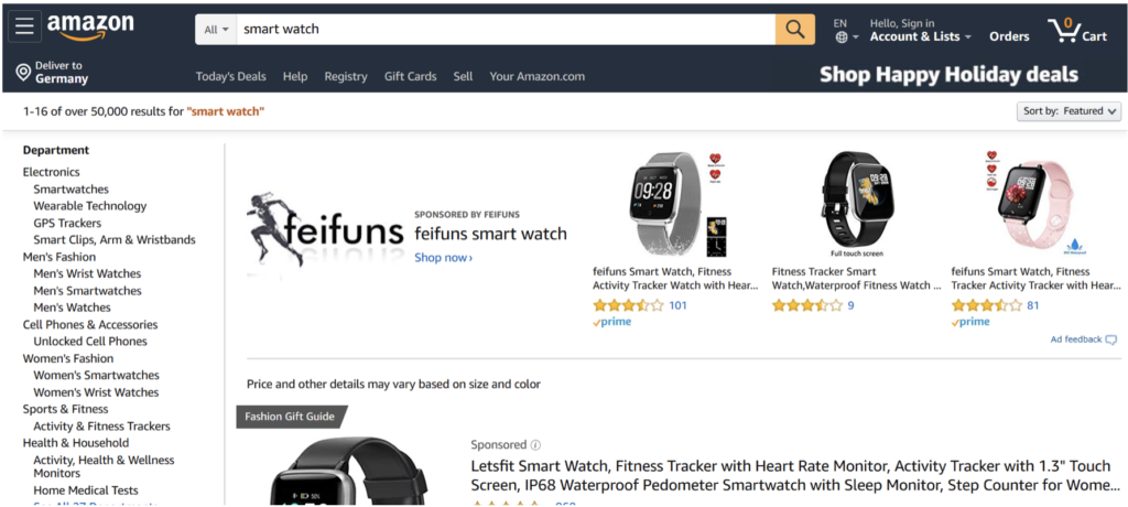 Amazon shows sponsored products first in the search results.
