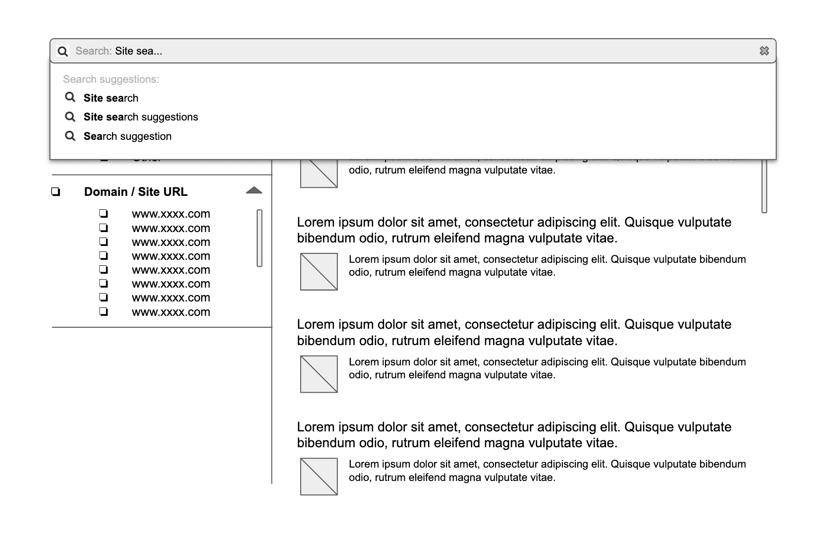 Site search wireframe example