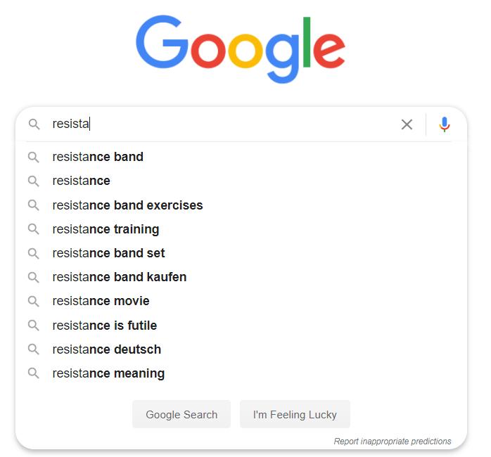 Google search auto-complete
