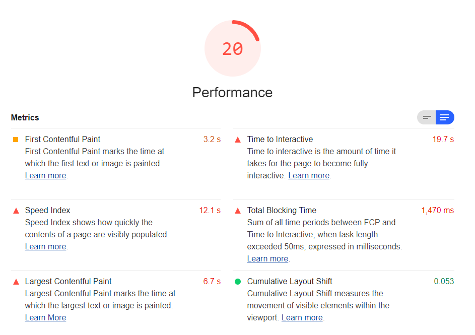 Google Lighthouse Performance Report