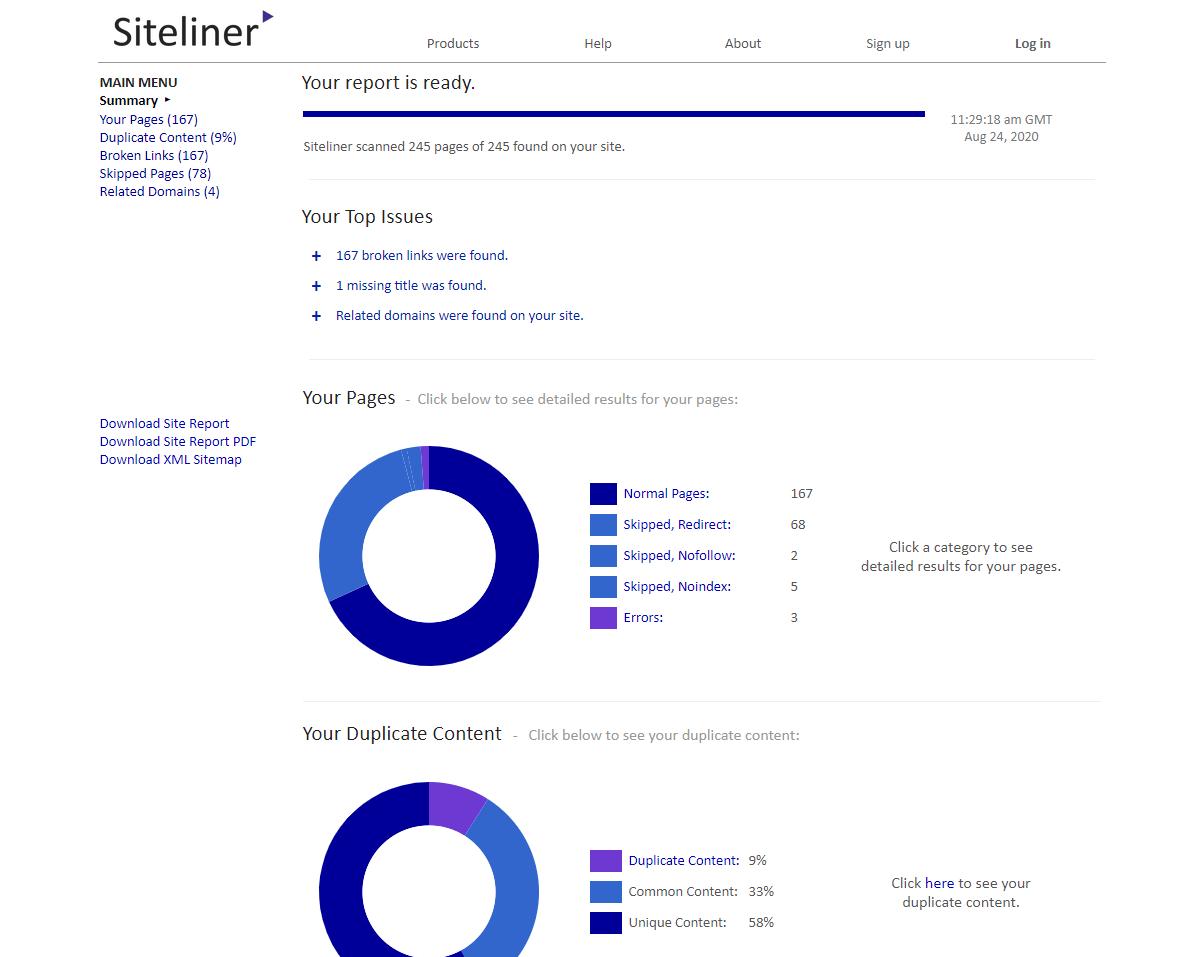 Siteliner duplicate content checker