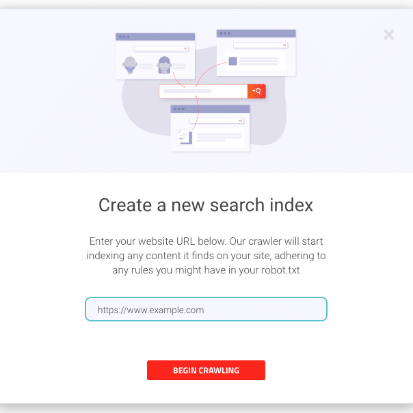 Picture of creating crawler index in AddSearch dashboard