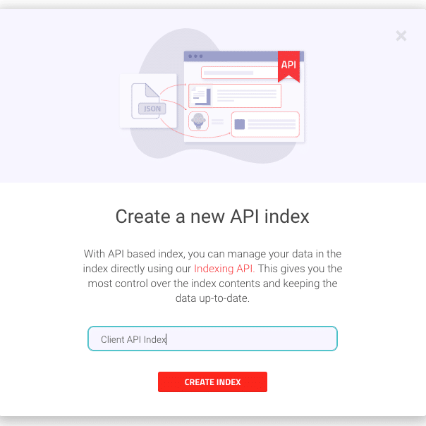 Picture of indexing API index in AddSearch dashboard
