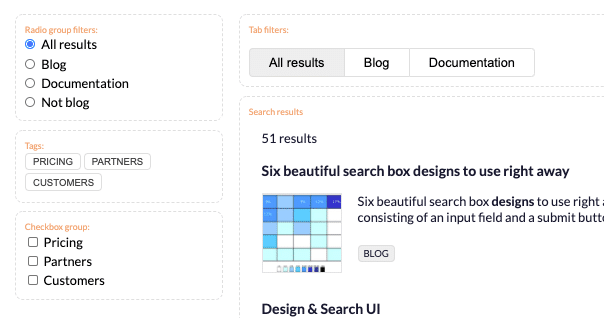 Picture of filters component from Search UI Library