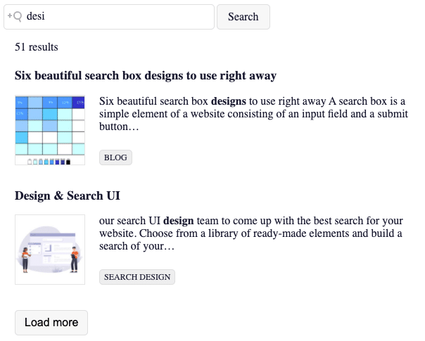 Picture of loadmore component from Search UI Library