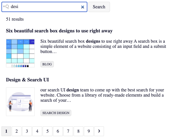 Picture of pagination component from Search UI Library.