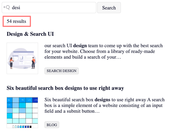 Picture of search results with result count