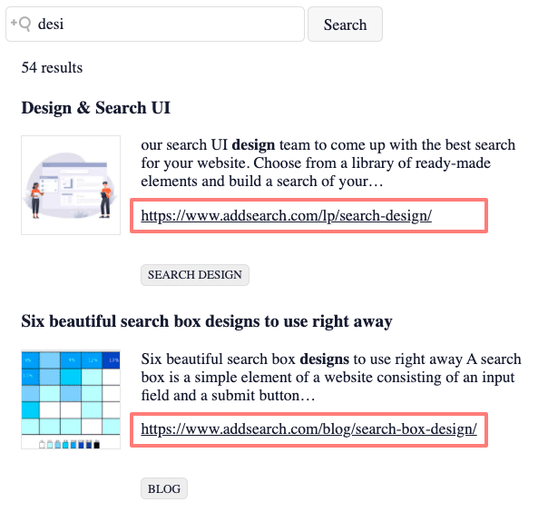 Picture of search results with URL added
