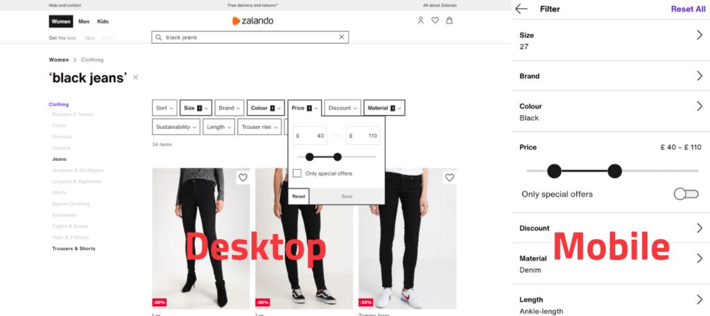 Zalando search filter example