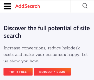 AddSearch's mobile website search design