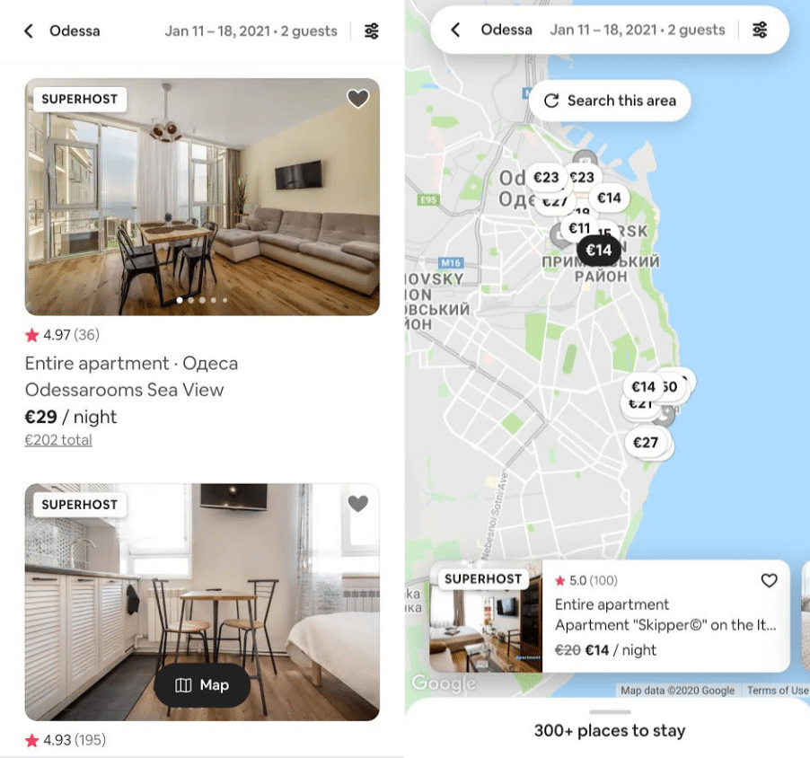 Airbnb list vs. map view