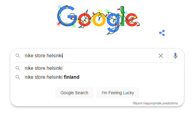 Google Search autocomplete example