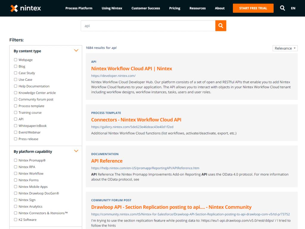 Nintex documentation search