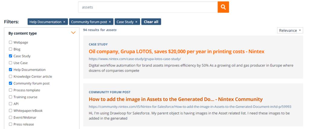 Nintex API search across sources